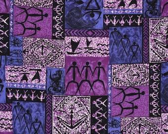 Vintage Hawaii fabric, barkcloth Tiki Tribal