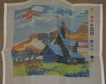 Bernat Tapestry kit vintage needlepoint kit with farmhouse decor farm scene barn bargello