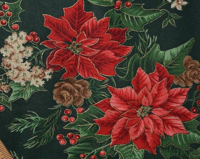 Retro Christmas fabric, poinsettia flowers Joan Messmore extra wide
