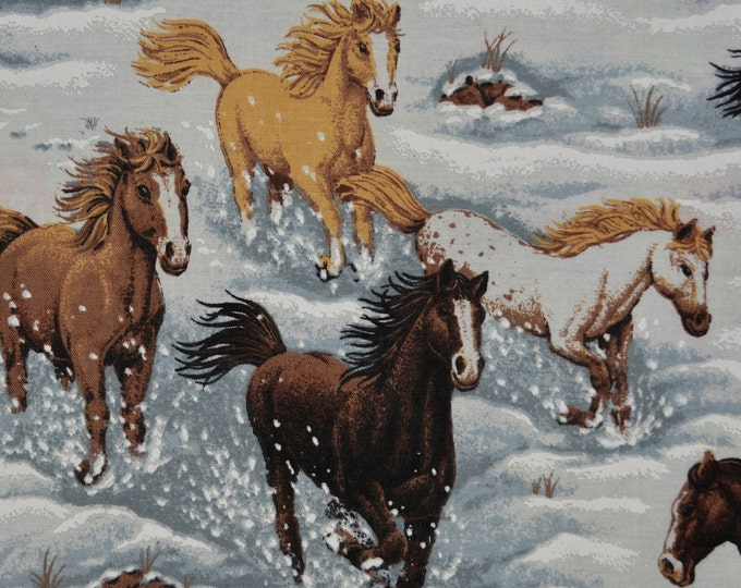 Vintage fabric, wild horses running in snow, Springs fabric