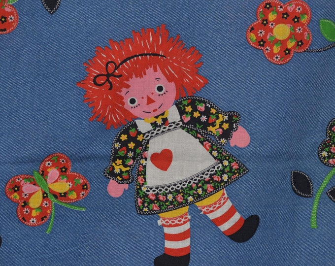Vintage fabric, Raggedy Ann style fabric by the yard