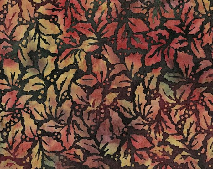 Winter Holly leaves batik fabric