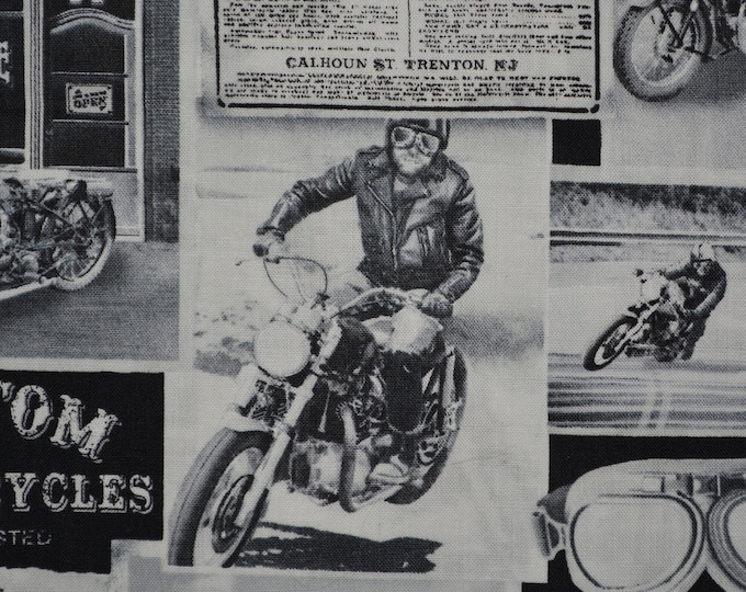 Motorcycle fabric by the yard Timeless Treasures 50s motorcycles