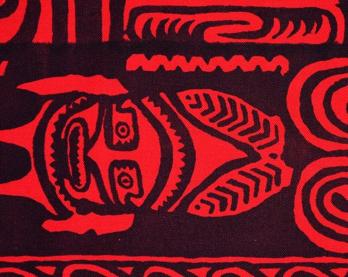 Red black tribal fabric Hawaiian tribal fabric Polynesian fabric Samoan fabric