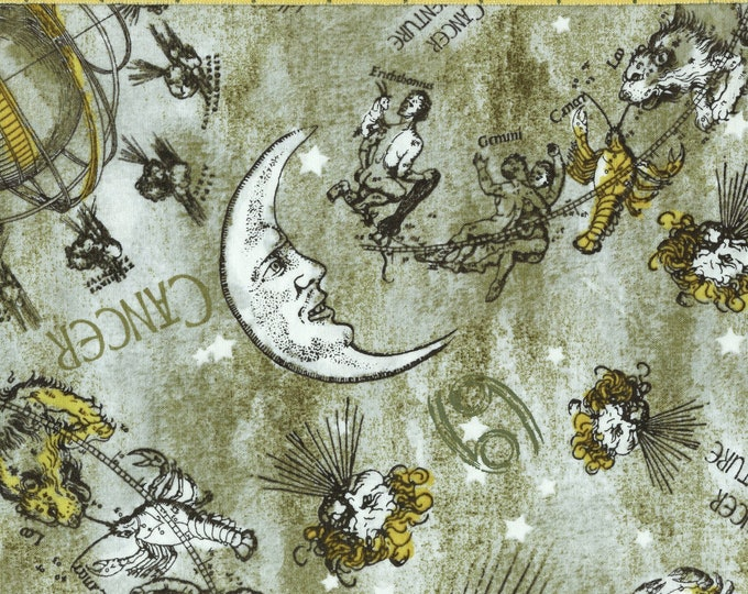 Zodiac Cancer crab FABRIC, moon with face celestial fabric