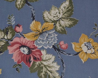 1940s fabric, peony flower fabric, cottage floral fabric