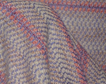 Handwoven fabric thick cotton Pink Lavender striped fabric