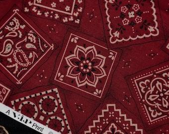 Dark red bandana fabric VIP Cranston print works