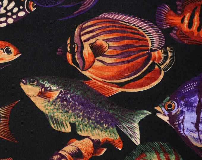 Tropical fish fabric, striped fish, Hoffman fabric Tide Pools