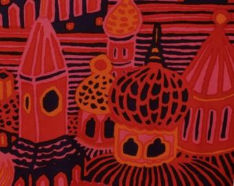 Kumiseva Marimekko fabric, Katsuji Wakisaka 1970s abstract art fabric