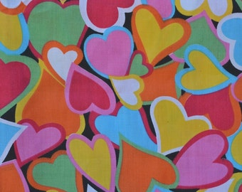 Multicolored hearts valentine hearts fabric colorful hearts pink blue orange yellow green