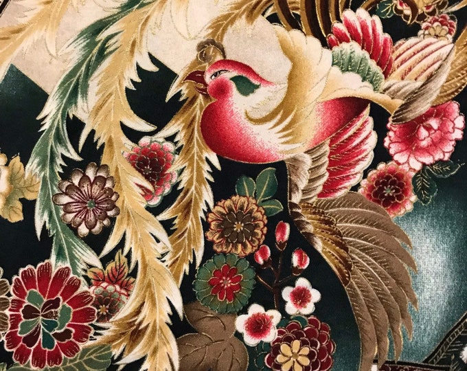 Robert Kaufman fabric Asian floral Imperial Collection bird tsuzumi