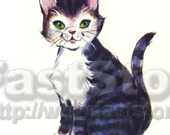 Downloadable retro cat kitten digital graphic file, JPG PNG