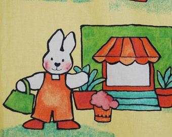 Bunny rabbit upholstery fabric, retro rabbit, Mansion Textiles
