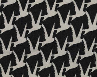 Vintage fabric, Escher style bird print fabric