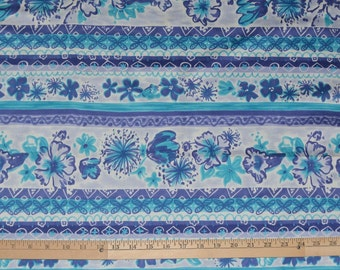 Floral stripe fabric, Hawaiian fabric, Polynesian fabric, cotton sateen
