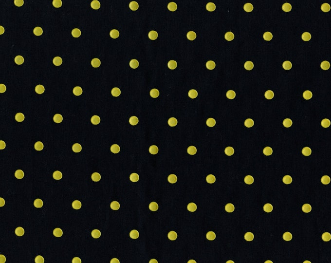 Vintage yellow polka dot fabric, rubber printed polka dots, 35 inch width, shy 3 yrds