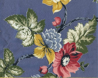 1940s floral fabric, Shabby Chic botanical floral climbing vines