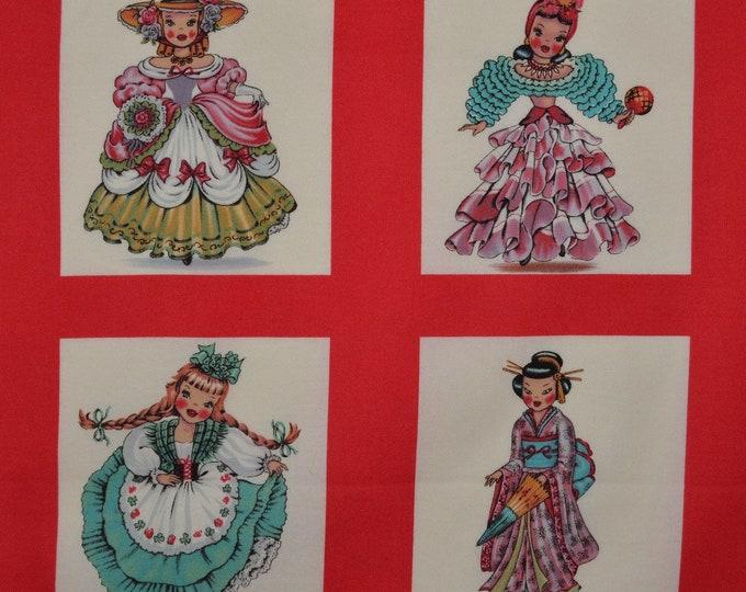 Michael Miller fabric heritage world Dolls fabric panels cultural dolls