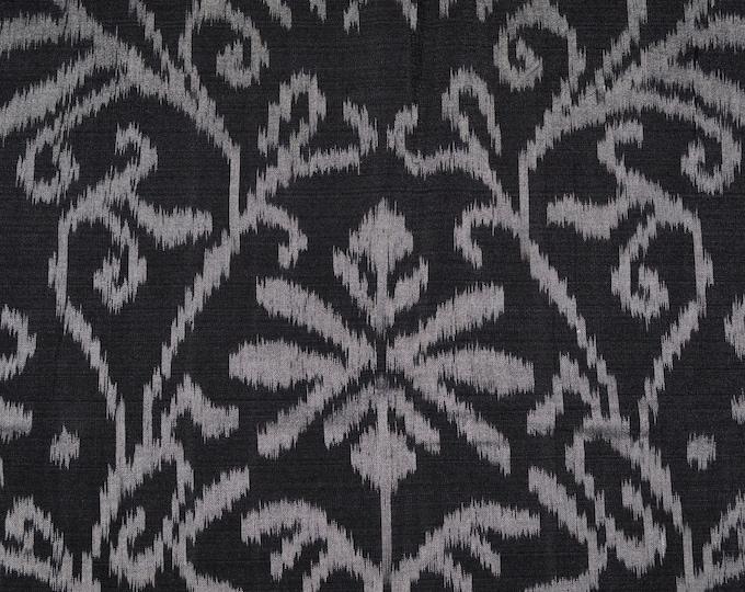 Black gray Ikat fabric woven ikat fabric