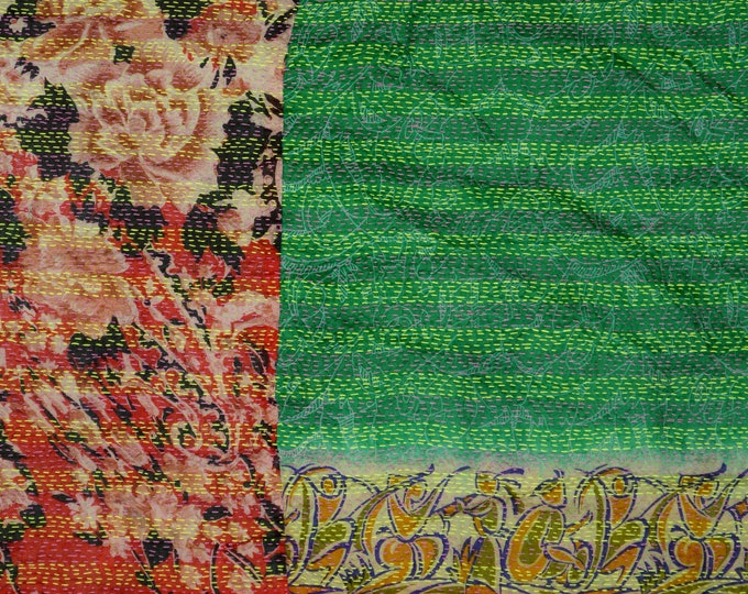Kantha silk scarf or table runner, stitched India silk patched fabric