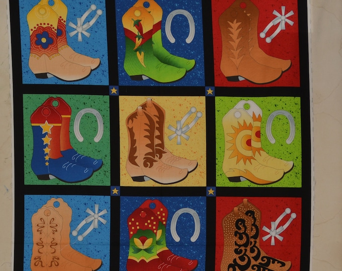 100 % cotton Cowboy boot fabric panel, quilt panel project for cowboy baby