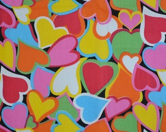 Hearts fabric, novelty fabric with colorful heart print all over, half yard