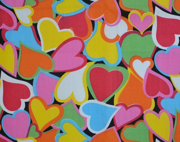 Hearts fabric, novelty fabric with colorful hearts, half yard cuts