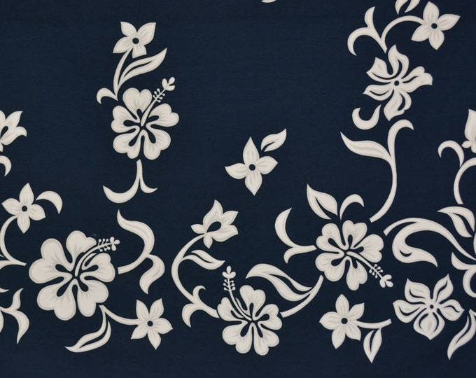 Hawaiian fabric border print Hoffman fabric tropical floral 90s does 50s