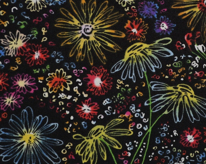 Floral outline Black floral fabric by the yard Kaufman fabric bright floral on black