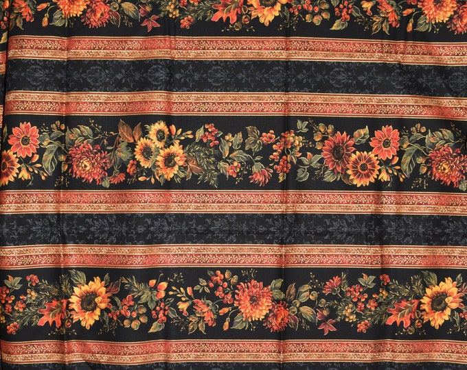 Autumn floral fabric, Fall sunflower striped P and B Textiles