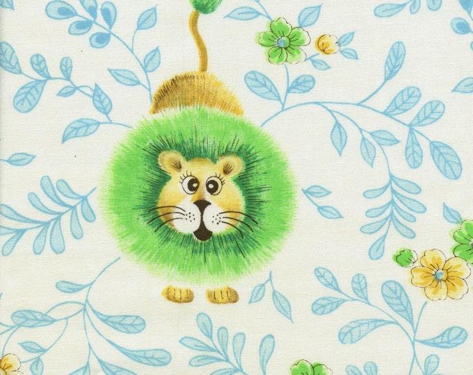 Vintage jungle lions fabric, Manes fabric woven cotton poly blend