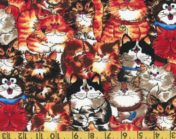 Funny Cats allover fabric, novelty quilting cotton with packed silly cats