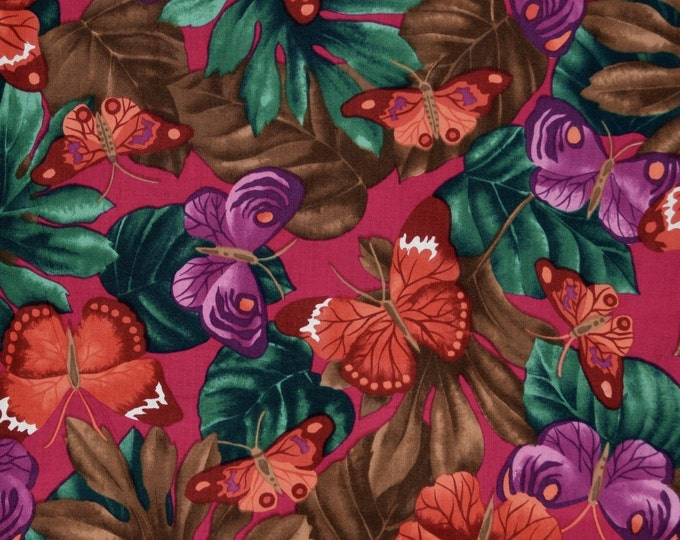 Butterfly fabric with monstera leaf fabric rare Alexander Henry