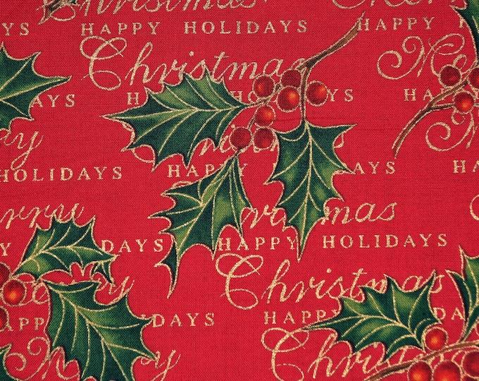 Christmas greetings fabric, Alexander Henry Christmas