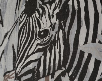 Zebra fabric 80s fabric zebra stripe abstract black white