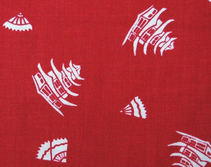 Red Japanese fabric pagoda print red white cotton fabric Springs Creative Mary Fong