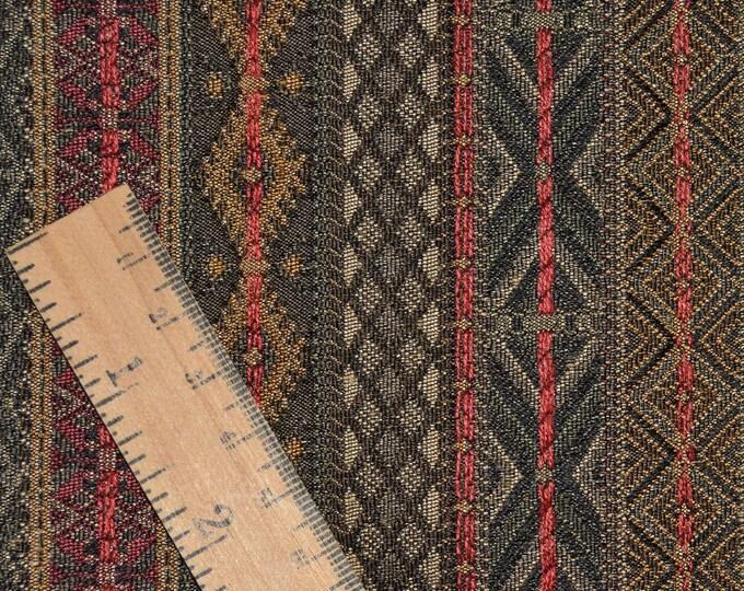 Jacquard upholstery fabric by the yard, Damask geometric stripe rayon fabric