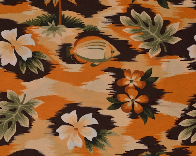 Vintage Hawaii fabric by the yard, tropical fish plumeria