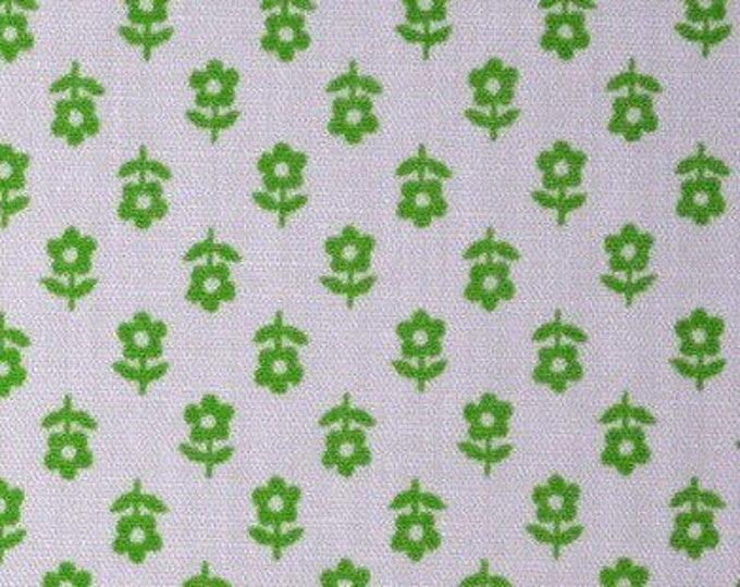 Green white floral fabric vintage small floral fabric by the yard