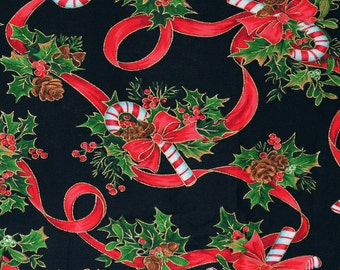 Christmas candy cane fabric, Joan Messmore for Cranston Print Works VIP