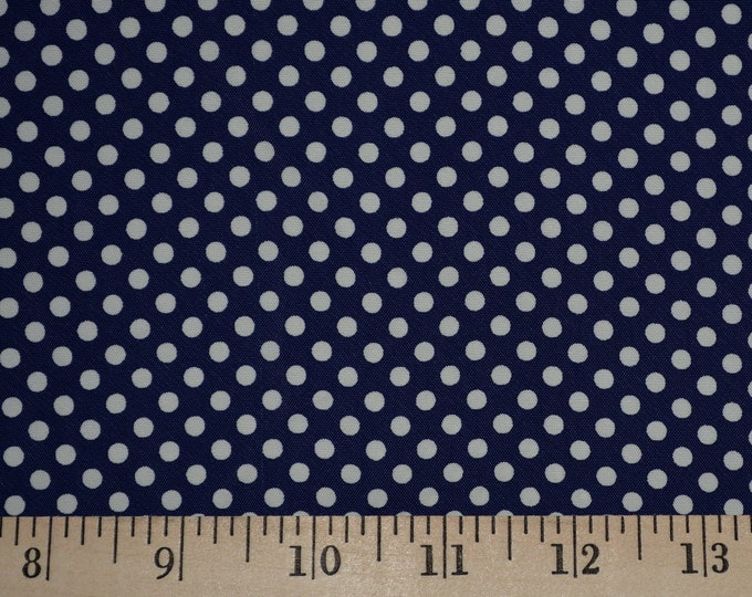 Vintage rayon fabric polka dot fabric blue navy polka dot fabric