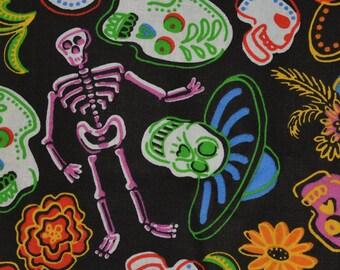 Vintage fabric, Sugar skulls Day of the Dead fabric, David Textiles