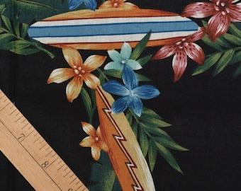 black Hawaiian fabric with surfboards and plumeria Hawaiian shirt fabric