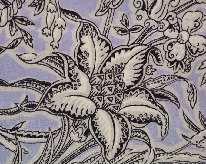 Pure Silk fabric, botanical floral silk with line drawn flowers