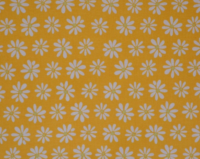 Yellow floral fabric Daisies fabric Monaluna fabric Kaufman fabric