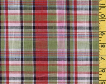 Multicolor plaid rayon fabric green and pink, apparel width