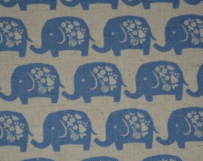 Elephant fabric blue elephants for baby KOKKA fabric made in Japan cotton or linen