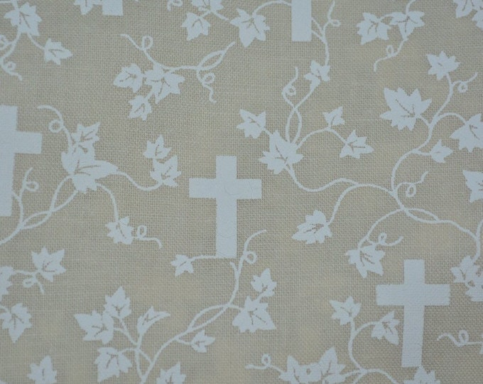 Christian Easter cross fabric Easter Fabric with white cross for First Communion dress fabric
