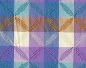 Checkered silk cotton blend fabric with jacquard floral pattern